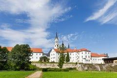 Cysterski gothic monaster i kościół, Vyssi Broda, Południowy Artystyczny region Fotografia Stock
