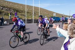 Cystic Fibrosis Fund Raising Cycle Race, May, 12, 2019: Spectators cheer the riders at the finish of the Cycle 4 CF fund royalty free stock photo