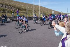 Cystic Fibrosis Fund Raising Cycle Race, May, 12, 2019: Spectators cheer the riders at the finish of the Cycle 4 CF fund stock images