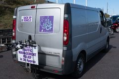 Cystic Fibrosis Fund Raising Cycle Race, May, 12, 2019: Support van at the finish of the Cycle 4 CF fund raising ride royalty free stock image