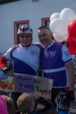 Cystic Fibrosis Fund Raising Cycle Race, May, 12, 2019: Two riders celebrate at the finish of the Cycle 4 CF fund royalty free stock photo