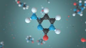 Cytosine, a part of DNA, plastic molecule model. Organic chemistry or modern medicine related loopable 3D animation