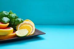 Cytrusów plasterki na talerzu Pokrojony grapefruitowy, cytryna, wapno i o, Zdjęcia Stock