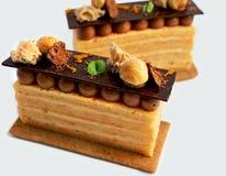 Cytrus ablegrował opera tort z czekoladowym ganache i hazelnuts obrazy royalty free