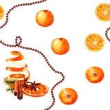 Cytrus akwareli nowego roku bezszwowy wzór Zdjęcia Stock