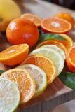 Cytrus cytryna, wapno, mandarynka i świezi plasterki -, obrazy stock
