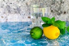 Cytrus owoc i szkło woda Zdjęcie Stock