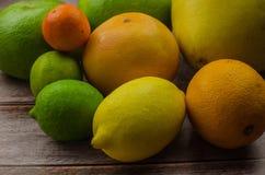 Cytrus owoc pomarańcze, cytryna, grapefruitowa, mandarynka, wapno obraz stock
