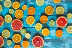 Cytrus owoc pomarańcze, cytryna, grapefruitowa, mandarynka, wapno na błękitnym tle fotografia royalty free