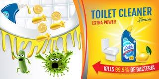 Cytrus woni cleaner toaletowe reklamy Czyści koczka zwłoki zarazki wśrodku toaletowego pucharu wektorowa realistyczna ilustracja  Fotografia Royalty Free