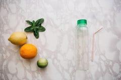 Cytrusy i nowi liście na stole obok pustej butelki z tubką przed robić sokowi Mieszanka cytryna, wapno i zdjęcie stock