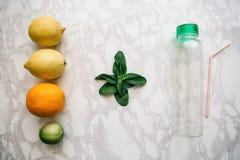 Cytrusy i nowi liście na stole obok pustej butelki z tubką przed robić sokowi Mieszanka cytryna, wapno i zdjęcie royalty free