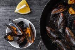 cytryn gotujący mussels obrazy royalty free