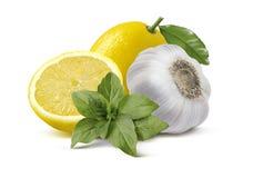 Cytryna czosnku basilu pesto składniki odizolowywający na białym backgroun Obrazy Royalty Free