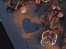 Cytryna, dokrętki i asortyment świetne czekolady, fotografia stock