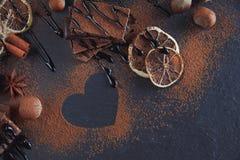 Cytryna, dokrętki i asortyment świetne czekolady, obraz royalty free