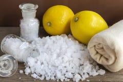 Cytryna i morze sól - piękna traktowanie z organicznie kosmetyka dowcipem Zdjęcie Stock