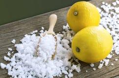 Cytryna i morze sól - piękna traktowanie z organicznie kosmetyka dowcipem Zdjęcie Royalty Free