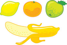 Cytryna Pomarańczowy Jabłczany banan Obrazy Royalty Free