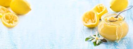 Cytryny curd sztandar zdjęcie royalty free