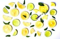 Cytryny i wapna plasterki z nowymi liśćmi na bielu Obrazy Stock