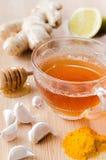 cytryny imbirowa herbata miód i tumeric dla detox zdjęcie stock