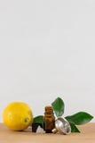 Cytryny Istotna Nafciana butelka Z nakrętką, cytrusów liśćmi i lejem Czarnymi, Obrazy Royalty Free