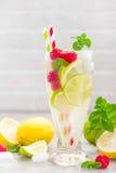 Cytryny mojito koktajl z wapnem, mennicą i malinką, zimny napój z lodem zdjęcia royalty free