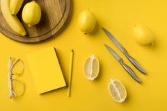 Cytryny z knifes i notatnikiem z ołówkiem Zdjęcie Stock