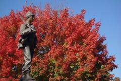 Cywilnej wojny żołnierza zabytek przeciw krwionośnemu czerwonemu drzewu obrazy stock