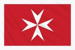 Cywilny chorąży Malta kiwanie w wiatrze, wektor royalty ilustracja
