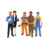 Cywilny inżynier, architekt i pracownik budowlany grupa ludzi, royalty ilustracja