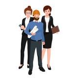 Cywilny inżynier, architekt i pracownik budowlany grupa, Pracowników ludzie ilustracja wektor