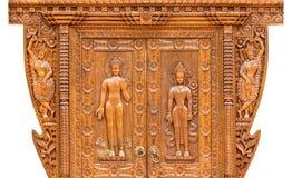 cyzelowania drewno drzwiowy tekowy Obraz Royalty Free