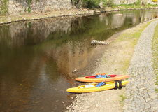 Czółna Vltava rzeką Zdjęcia Royalty Free