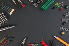 Cząsteczka producenta zestaw, elektronika projektuje producenta zestaw fotografia stock