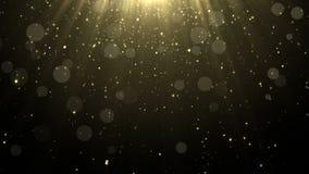 Cząsteczki błyskotliwości bokeh nagrody złocistego pyłu tła abstrakcjonistyczna pętla ilustracji