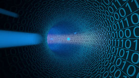 Cząsteczki rusza się przez abstrakcjonistycznego błękitnego tunelu robić z zero i ones Komputery, transfer danych, technologie cy fotografia stock