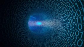 Cząsteczki rusza się przez abstrakcjonistycznego błękitnego tunelu robić z zero i ones Komputery, transfer danych, technologie cy royalty ilustracja