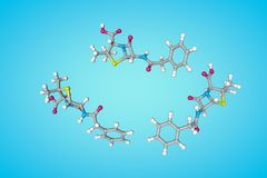 Cz?steczkowa struktura penicylina Atomy reprezentuj? jako sfery z konwencjonalnym koloru cyfrowaniem: siarka kolor ? ilustracji