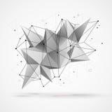 Cząsteczkowa struktura z poligonalnymi kształtami i wireframe ilustracja wektor