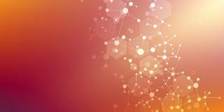 Cząsteczkowej struktury komunikacja i tło Abstrakcjonistyczny tło z molekuły DNA Medyczny, nauko i cyfrowy, ilustracja wektor