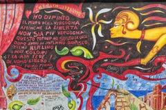Część Berlińska ściana z graffiti Zdjęcie Royalty Free