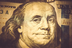 Część 100 dolarów, makro- strzał, Benjamin Franklin Zdjęcie Stock