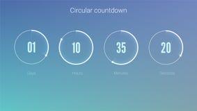 Część interfejs użytkownika, kurenda zegar Zegarowy zastosowanie, UI elementy Projekt odliczanie zegar dla przychodzić wkrótce lu ilustracja wektor
