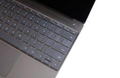 Część laptop klawiatura i touchpad odizolowywający na białym odgórnym widoku rozpieczętowany laptop Fotografia Stock