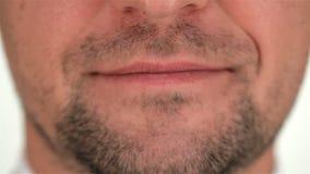 Część ludzki nieogolony uśmiech i twarz zbiory