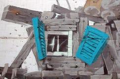 Część na dużą skalę legalny graffiti ` drzew i domów ` na ścianie multistory budynek Rosyjskim malarzem Andrey Adno Fotografia Stock