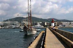 Część prawy falochron dok port Ibiza wyspa obrazy stock