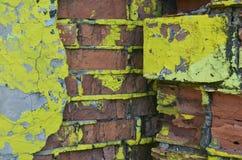 Część rysunkowi graffiti - kolorowy zniszczony ściana z cegieł Fotografia Royalty Free